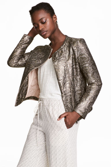 Jacquard-weave jacket - Gold/Patterned - Ladies | H&M 1