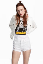 Trashed denim jacket - White denim - Ladies | H&M CN 1