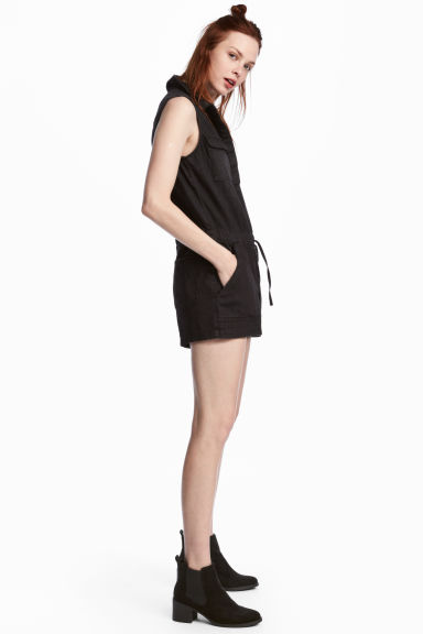 Denim playsuit - Black - Ladies | H&M 1