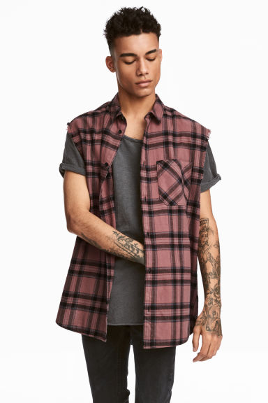 Sleeveless flannel shirt - Pink/Checked - Men | H&M