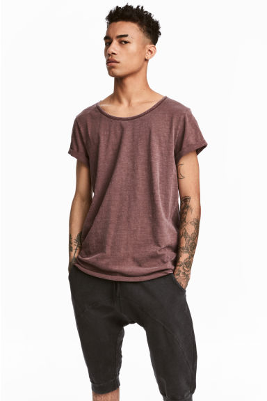 Slub jersey T-shirt - Red-brown - Men | H&M CN 1