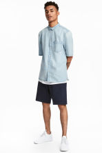 Knee-length cotton shorts - Dark blue - Men | H&M CA 1