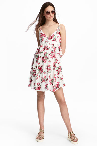 V-neck dress - White/Floral - Ladies | H&M 1