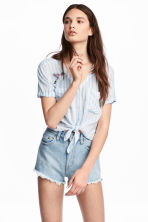 Tie-hem blouse with appliqués - Light blue/Striped - Ladies | H&M 1
