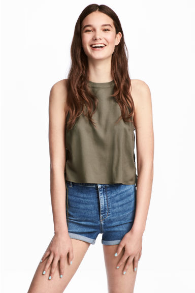 Top with lacing - Khaki green -  | H&M
