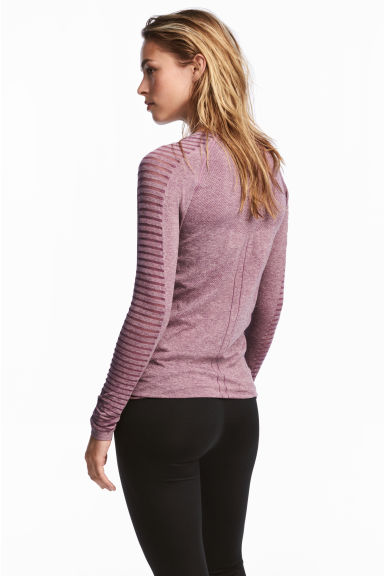 無痕運動上衣 - Light purple marl - Ladies | H&M 1