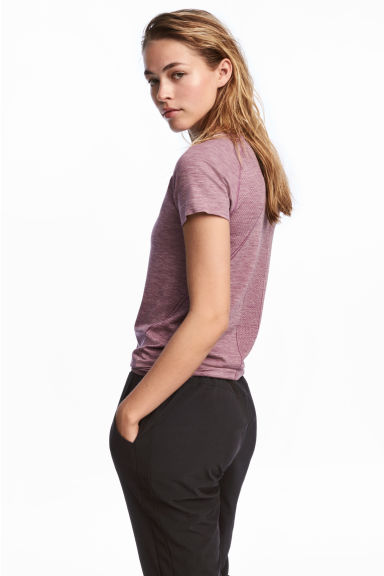 Seamless sports top - Light purple marl - Ladies | H&M