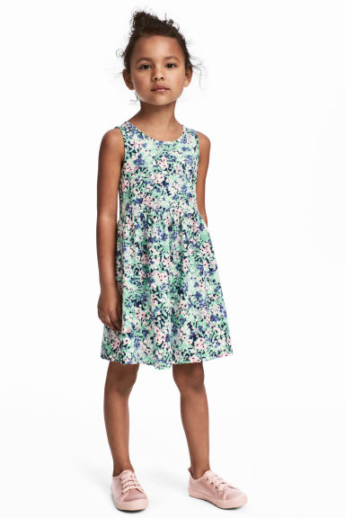 Sleeveless jersey dress - Mint green/Floral - Kids | H&M CN 1