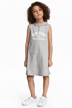 Hooded jersey dress - Grey marl/New York -  | H&M CN 1