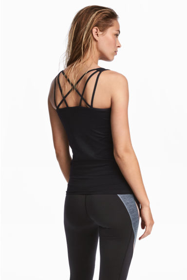 Seamless yoga vest top - Black - Ladies | H&M CN 1