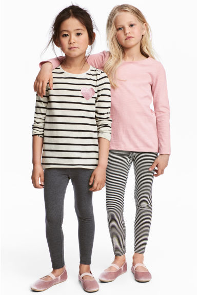 2件入內搭褲 - Black/White/Striped - Kids | H&M 1