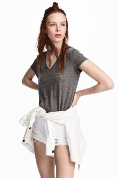 V-neck jersey top - Dark grey - Ladies | H&M 1