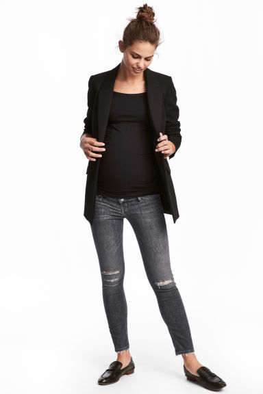 MAMA Skinny Ankle Jeans - Grey denim - Ladies | H&M