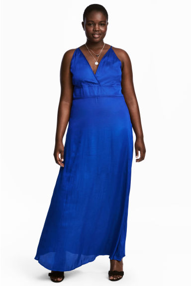 H&M+ Long satin dress - Cornflower blue - Ladies | H&M