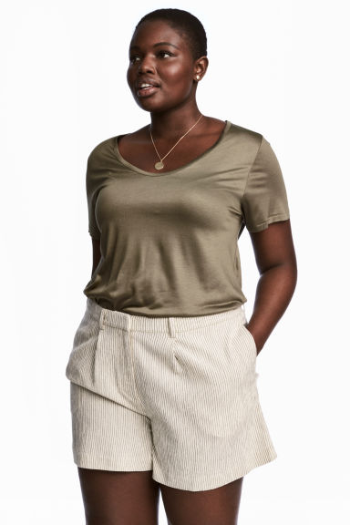H&M+ Jersey top - Khaki green - Ladies | H&M