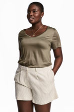 H&M+ Jersey top - Khaki green - Ladies | H&M 1