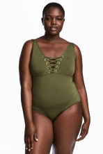 H&M+ Swimsuit - Khaki green - Ladies | H&M IE 1
