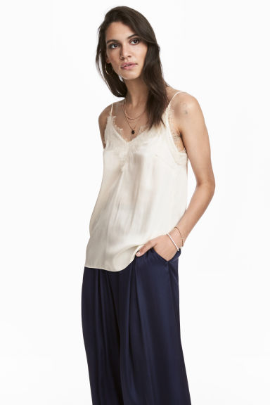Strappy satin top with lace - Natural white - Ladies | H&M 1