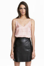 Strappy satin top with lace - Powder pink - Ladies | H&M CN 1