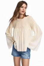 Blouse with a lace yoke - Natural white - Ladies | H&M CN 1