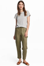 Linen joggers - Khaki green - Ladies | H&M 1