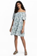 Silk-blend dress - Turquoise/Floral - Ladies | H&M 1