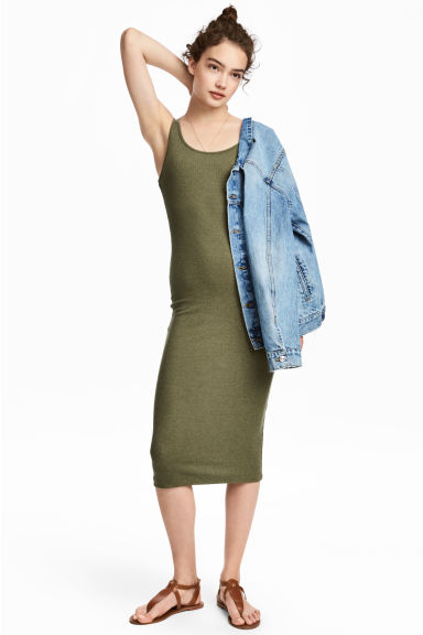 Ribbed dress - Dark olive green - Ladies | H&M CN 1
