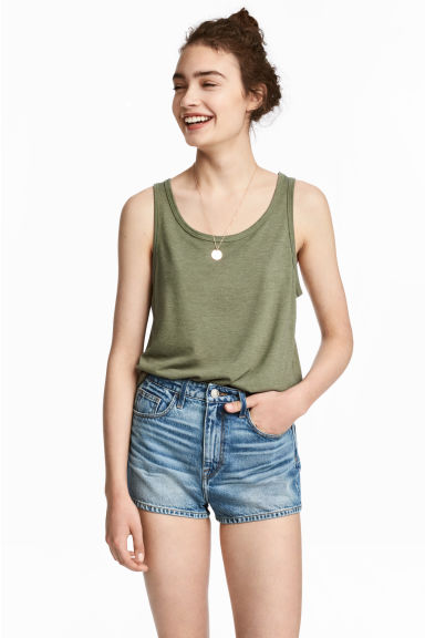 Jeansshort - High waist - Denimblauw - DAMES | H&M BE