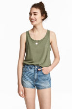 Denim shorts High waist - Denim blue - Ladies | H&M CA 1