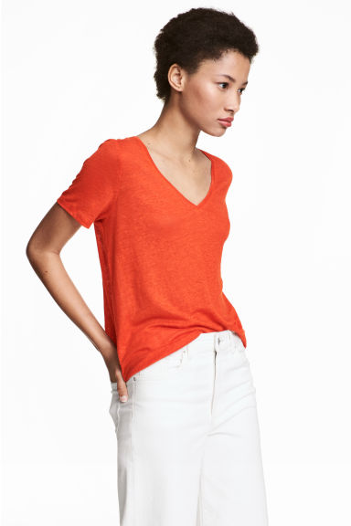 Linen V-neck top - Orange - Ladies | H&M CN 1