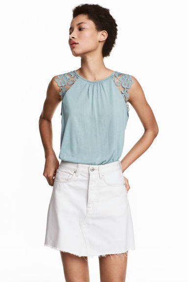 Jersey top with lace - Light turquoise - Ladies | H&M 1