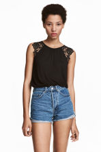 Jersey top with lace - Black - Ladies | H&M IE 1