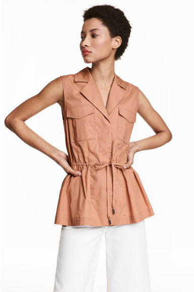 Sleeveless blouse - Camel - Ladies | H&M 1