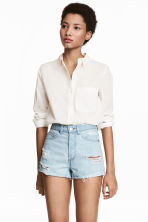 Short High Waist Shorts - Light denim blue/Trashed - Ladies | H&M 1