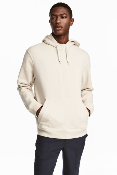 Cotton hooded top - Light beige - Men | H&M GB 1