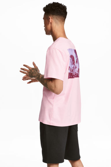 Printed T-shirt - Light pink/Palms - Men | H&M CN 1
