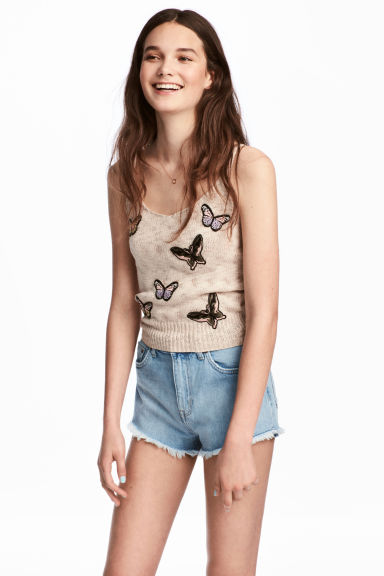Fine-knit top - Beige/Butterflies - Ladies | H&M 1