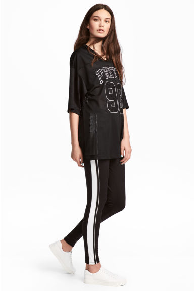 Jersey leggings with stripes - Black - Ladies | H&M CN