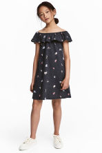 Dress with a flounce - Dark grey - Kids | H&M 1