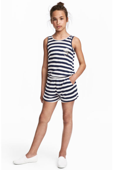 Sleeveless playsuit - Dark blue/Striped - Kids | H&M 1