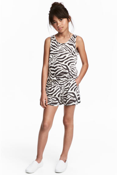 Sleeveless playsuit - Natural white/Dark grey - Kids | H&M