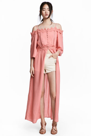 Long off-the-shoulder blouse - Coral pink - Ladies | H&M CN 1