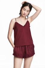 Satin strappy top - Burgundy - Ladies | H&M 1