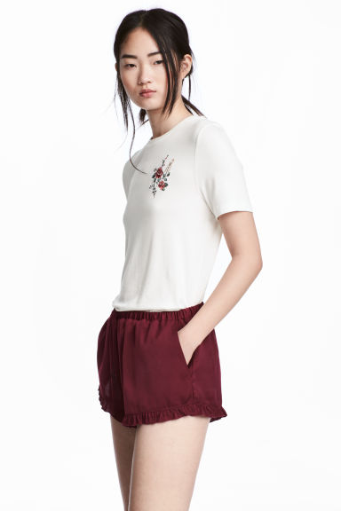 Jersey top with embroidery - Natural white - Ladies | H&M 1