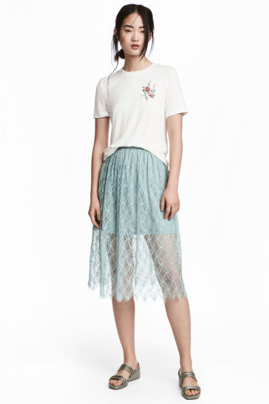 Lace skirt - Dusky green - Ladies | H&M