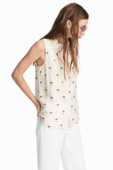 Sleeveless blouse - Natural white/Palms - Ladies | H&M CN