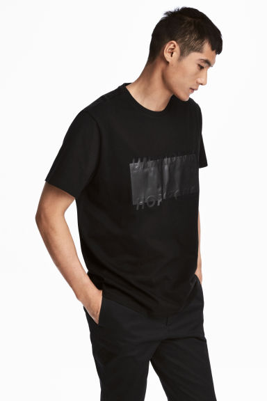 T-shirt with a motif - Black - Men | H&M 1