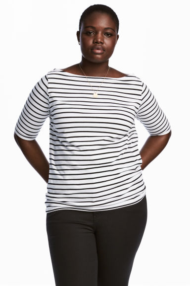 H&M+ Boat-neck top - White/Striped - Ladies | H&M CN 1