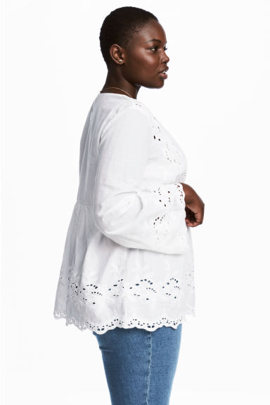 H&M+ V-neck blouse - White - Ladies | H&M 1