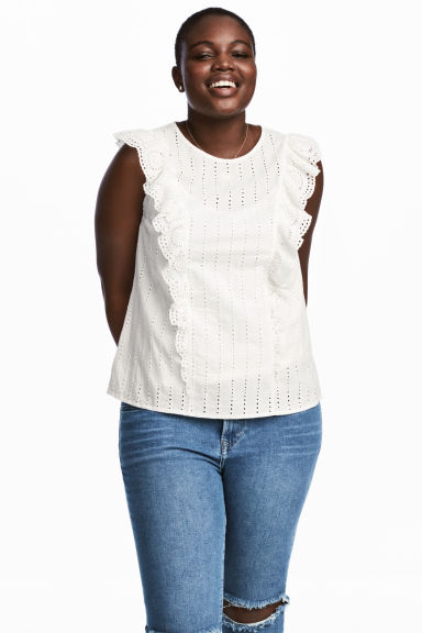 H&M+ Embroidered cotton blouse - White - Ladies | H&M